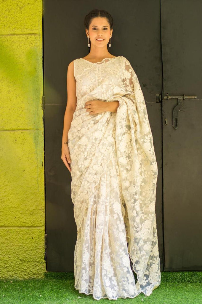 Elegant cream thread work saree - Fashionmozo