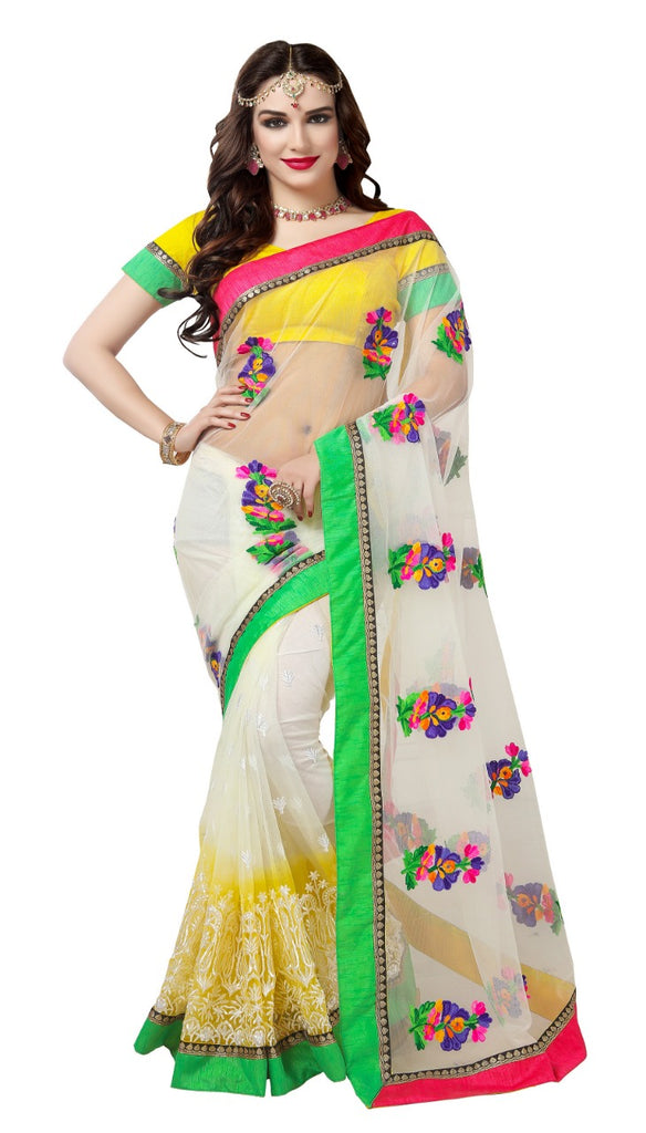 Net multicolour work saree
