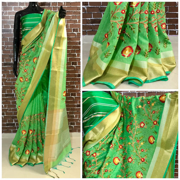 Green Embroidery Linen Saree