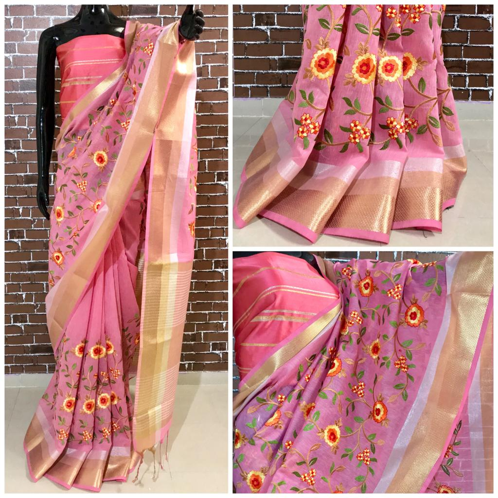 Pink embroidery linen saree
