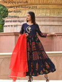 Embroidery gown red dupatta