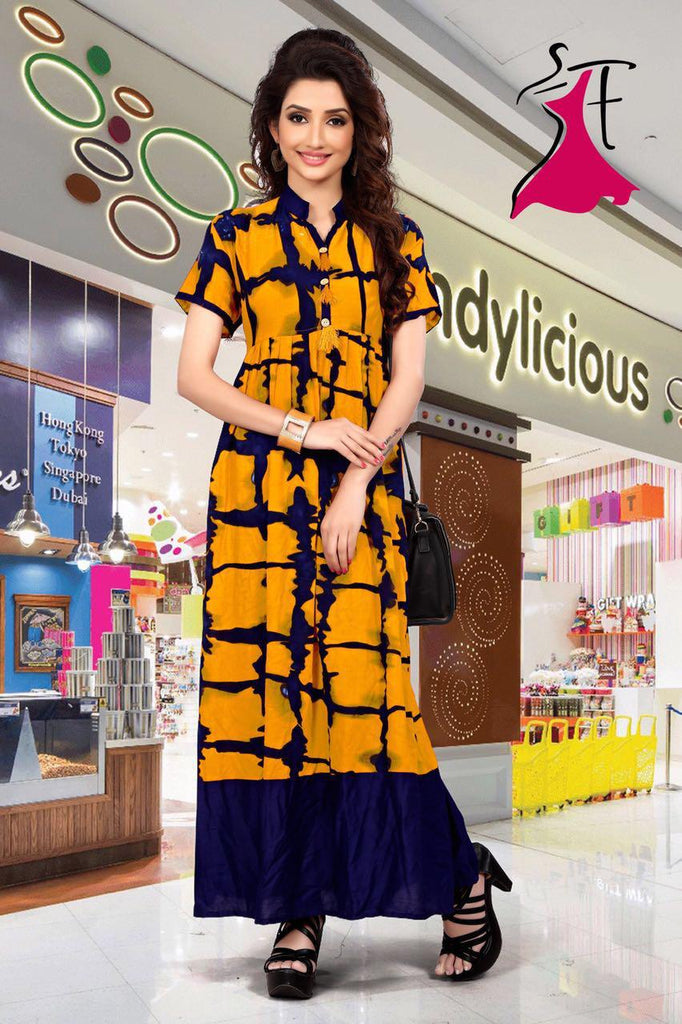 Yellow Full Length Rayon Kurti