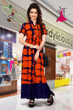 Orange full length rayon kurti