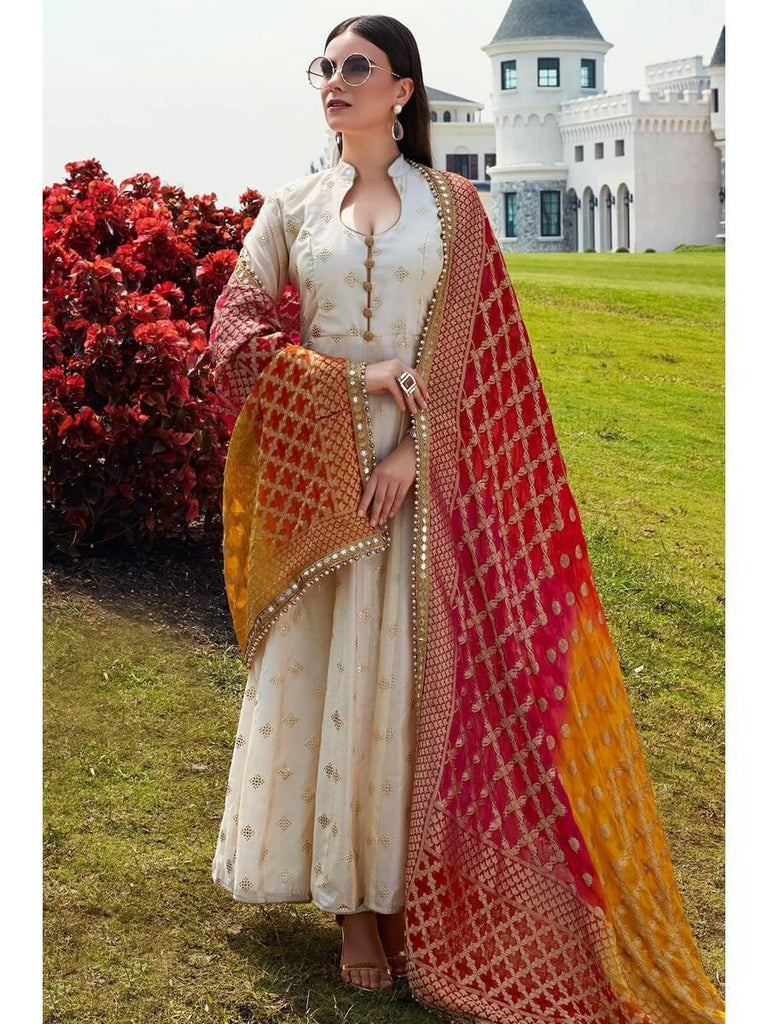Chanderi gold print gown