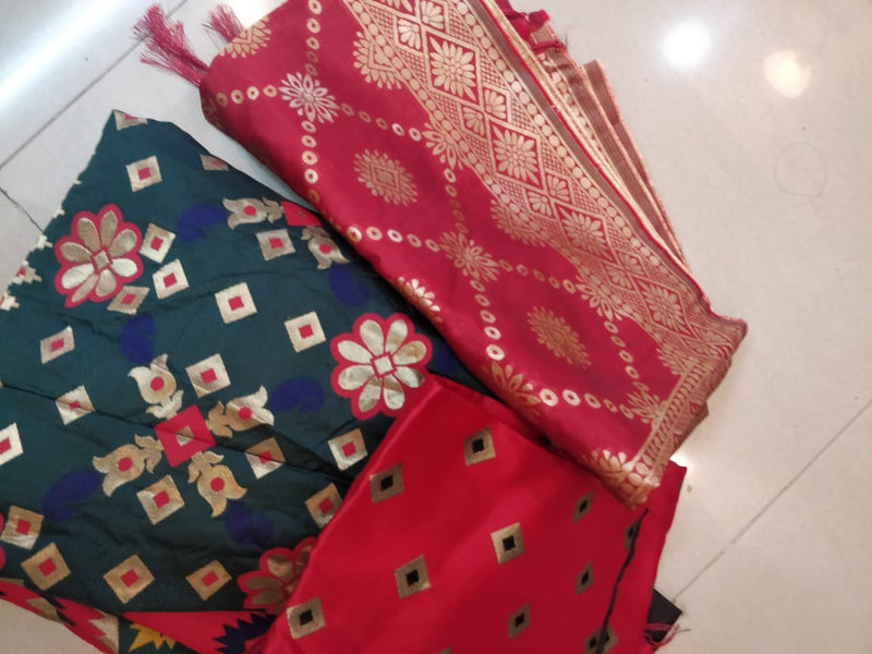 Red green patola silk lehenga