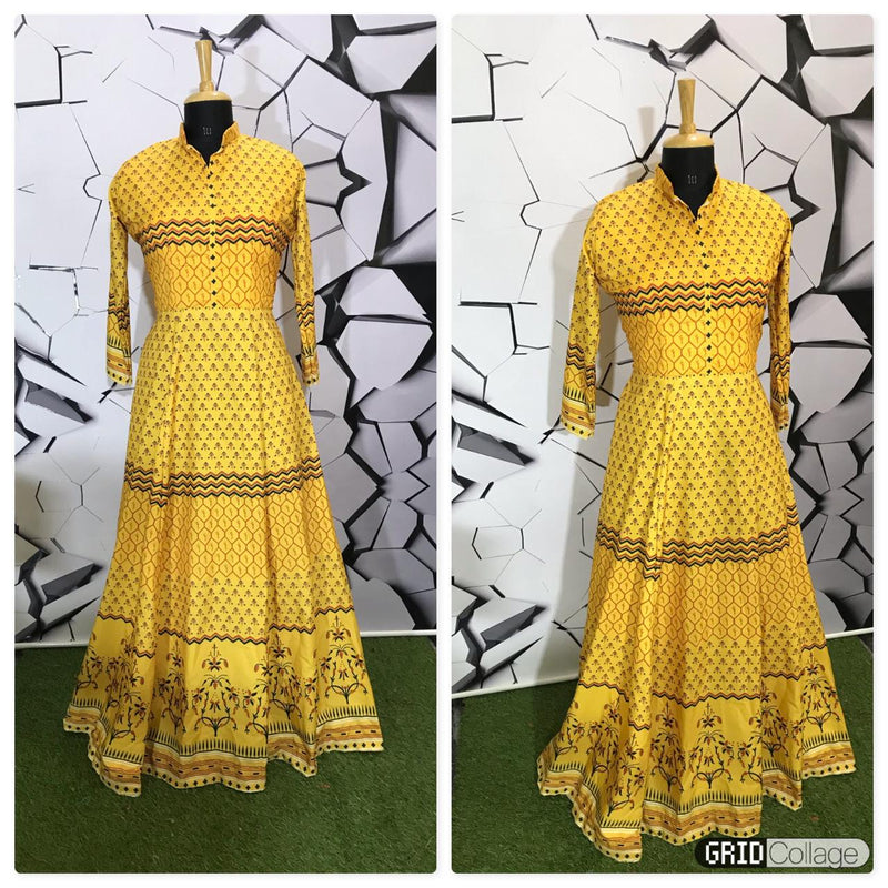 Yellow Cotton printed gown