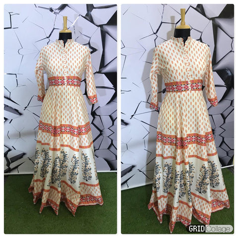 Cream printed full length gown