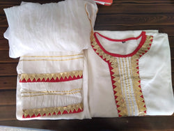 Cream red kurti plazo dupatta