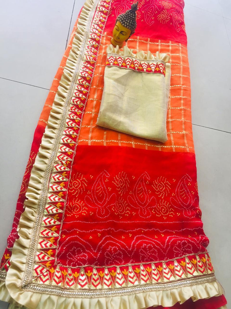 Red Orange Party Saree