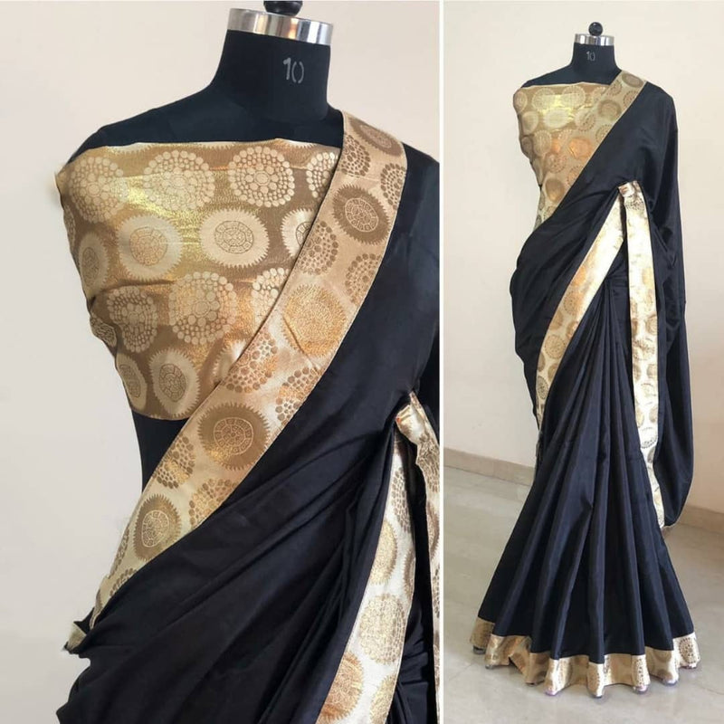cream golden border silk saree
