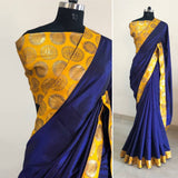 Navy blue brocade border silk saree