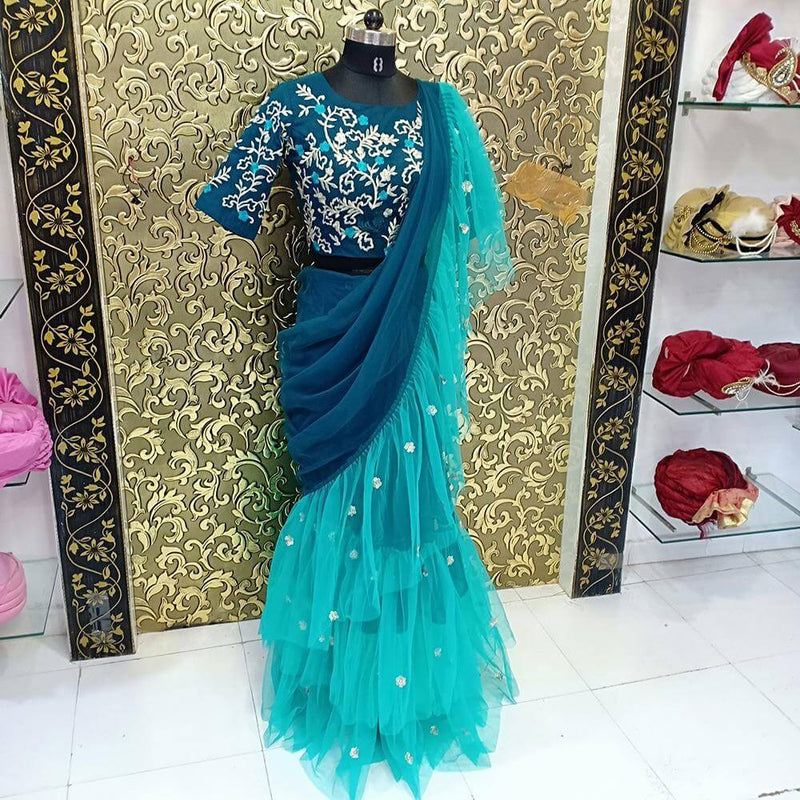 Green Ruffle Embroidery Saree