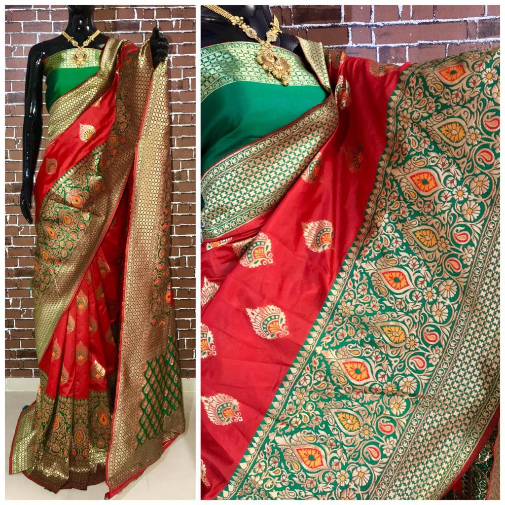 Red green banarsi silk weaving saree