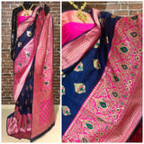 Navy blue pink banarsi silk weaving saree
