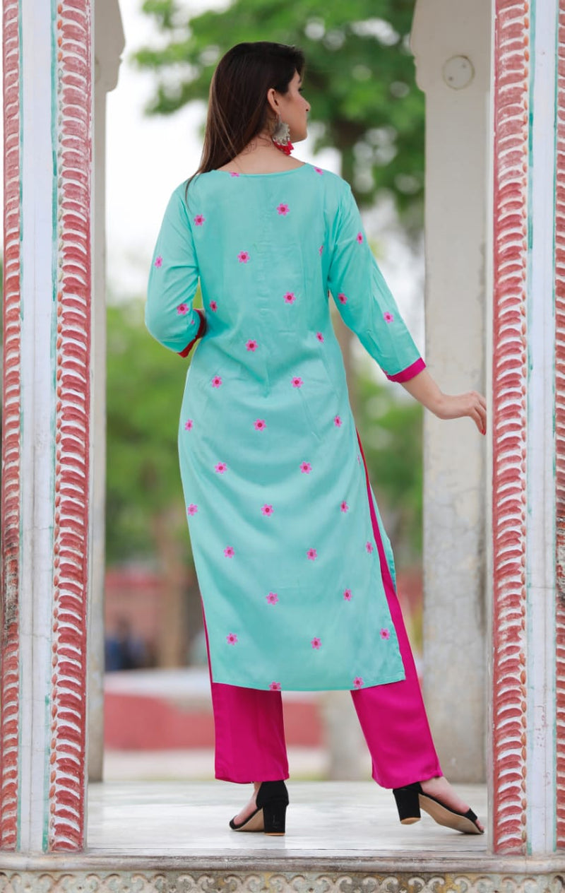 Green pink kurti plazo set