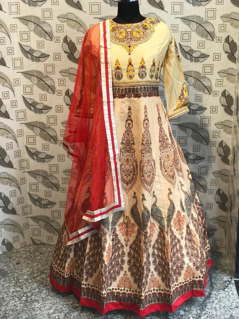 Silk printed designer gown dupatta set