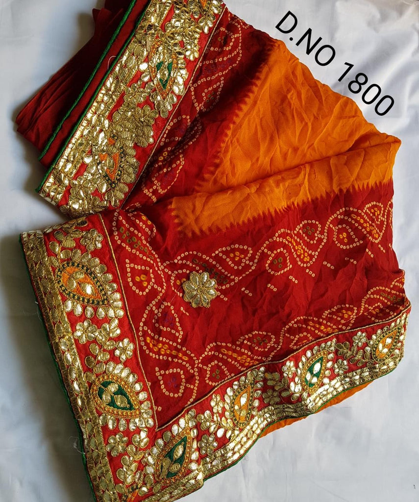 Orange red bandhani gotta patti saree
