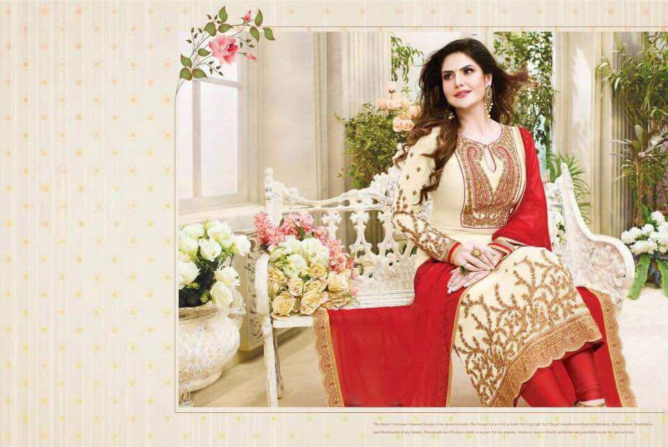 Red white georgette Dress material