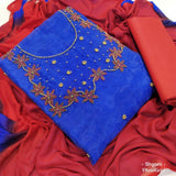 Blue embroidery organza dress material