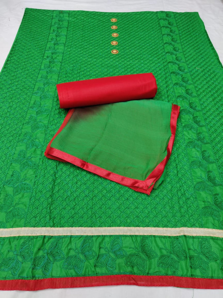 cotton embroidery green dress material