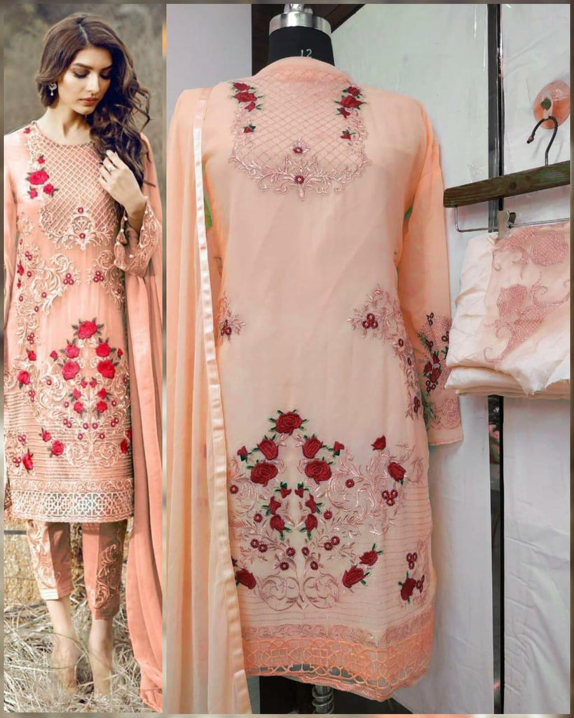 Flower embroiderypeach dress material