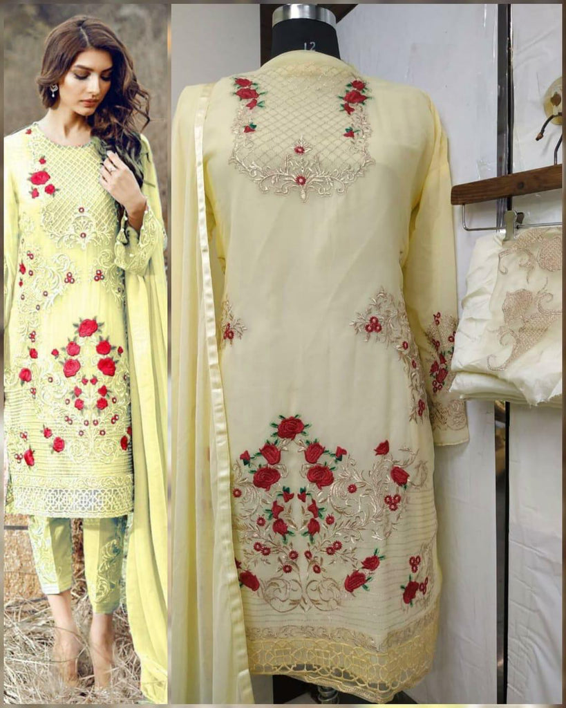 Flower embroidery Yellow dress material