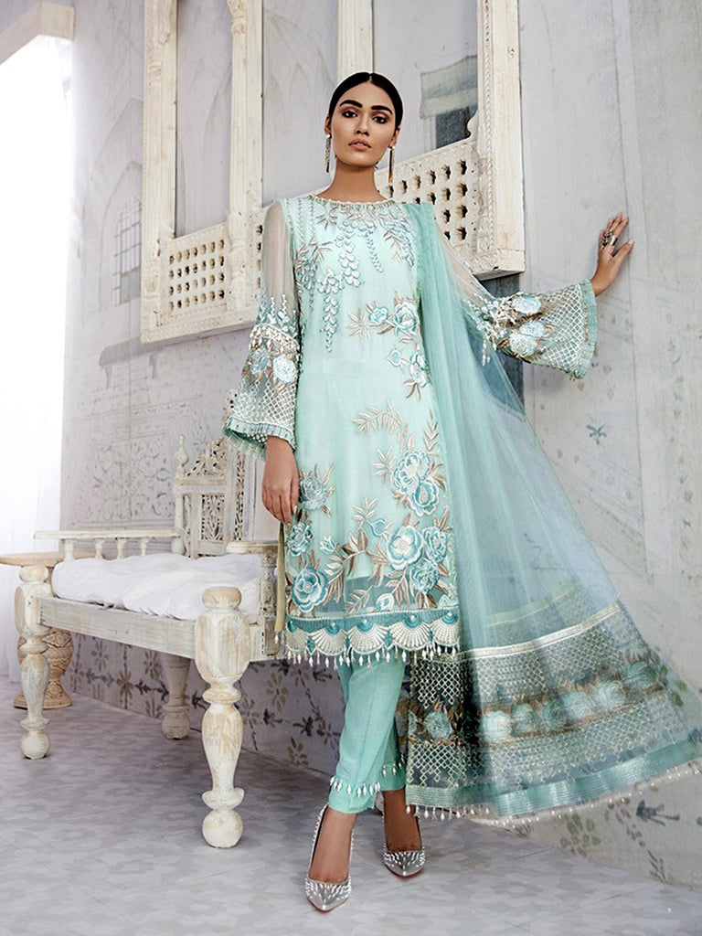 Sky blue georgette embroidery dress material