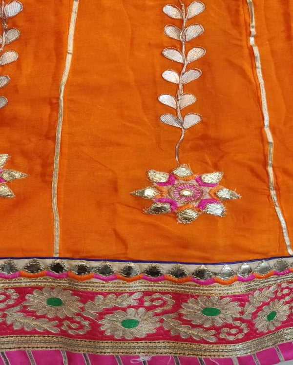 Orange Gotta Patti Lehenga With Bandhej Dupatta