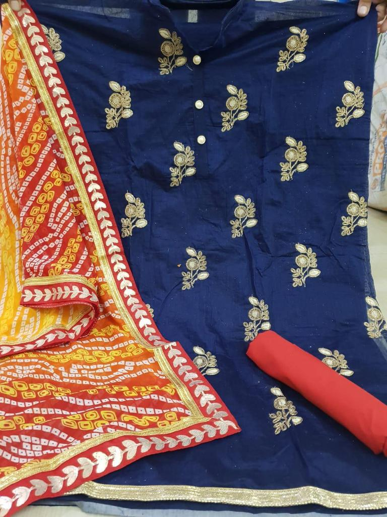 Blue embroidery dress material bandhej dupatta