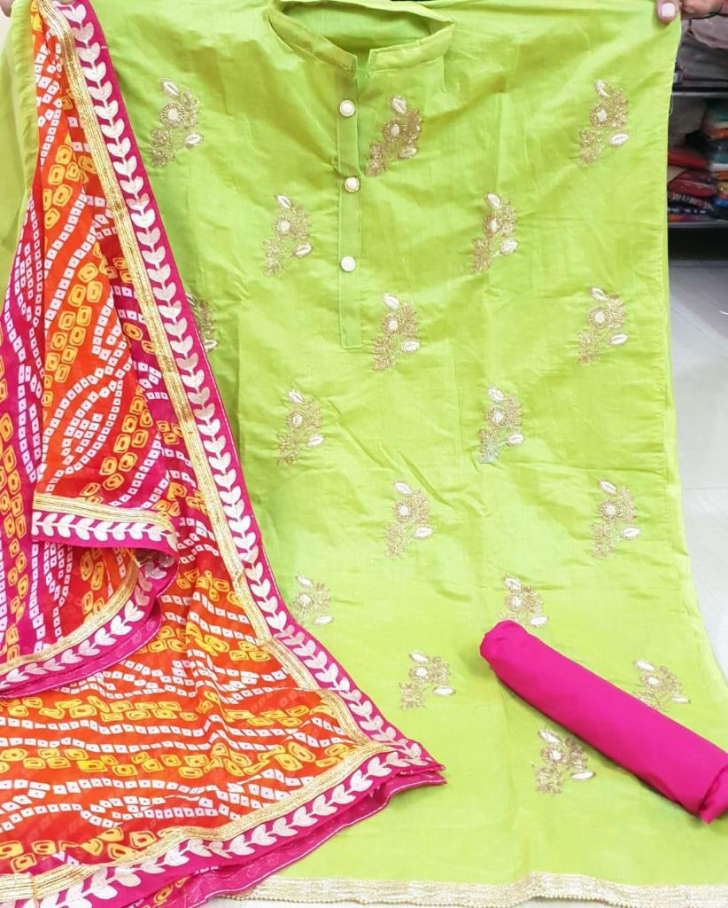 Green embroidery  dress material bandhej dupatta