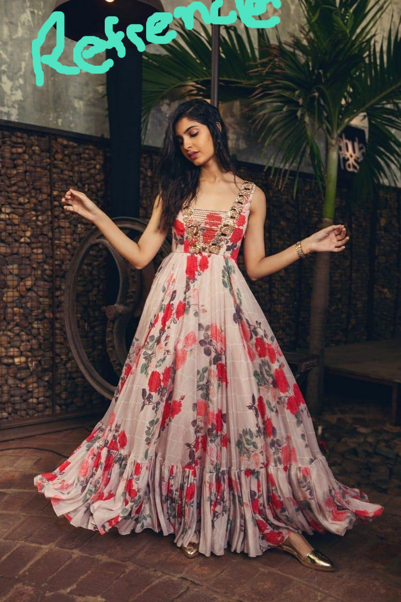 Printed flaired gown