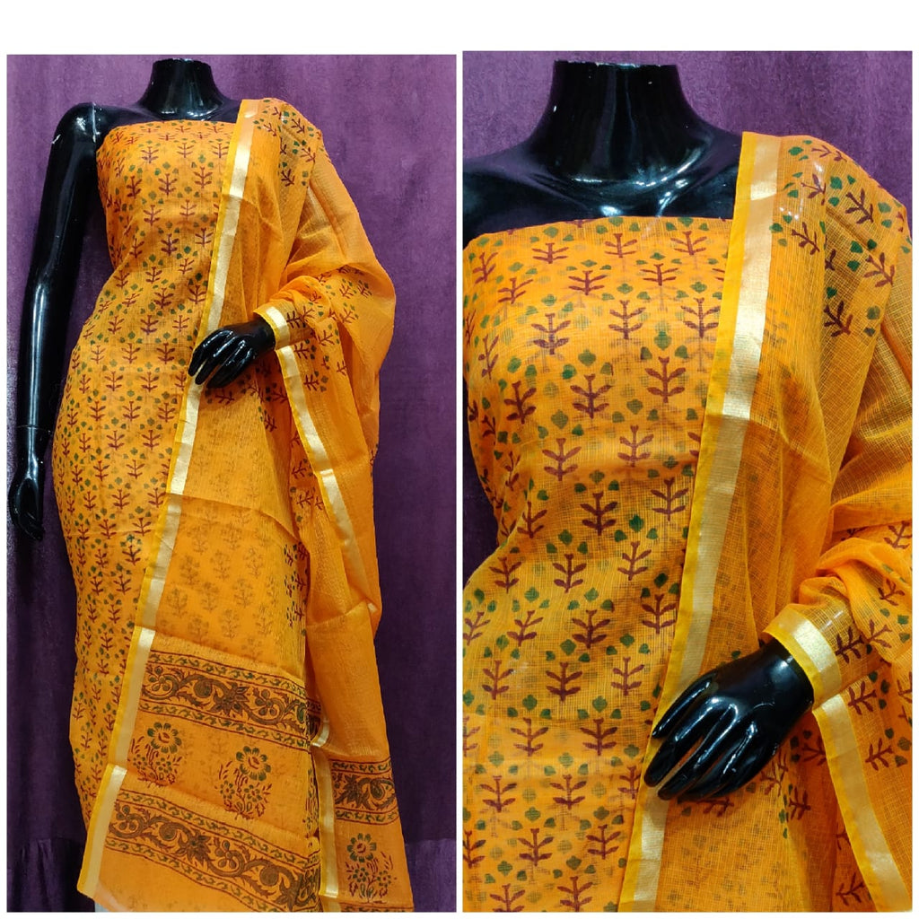 Yellow block print dress material