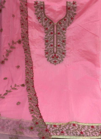 Pink flower embroidery dress material