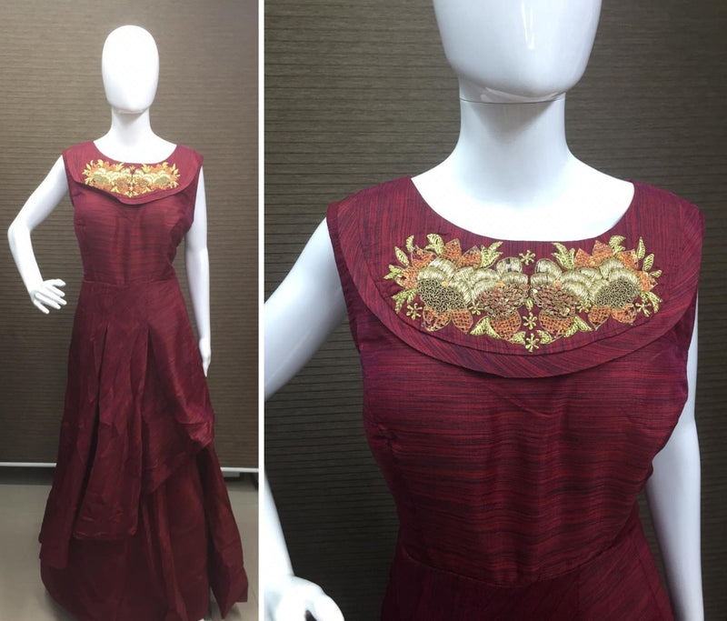 Maroon Festive flaired kurti with dupatta