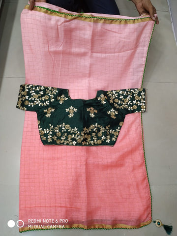 Pink saree gotta patti blouse