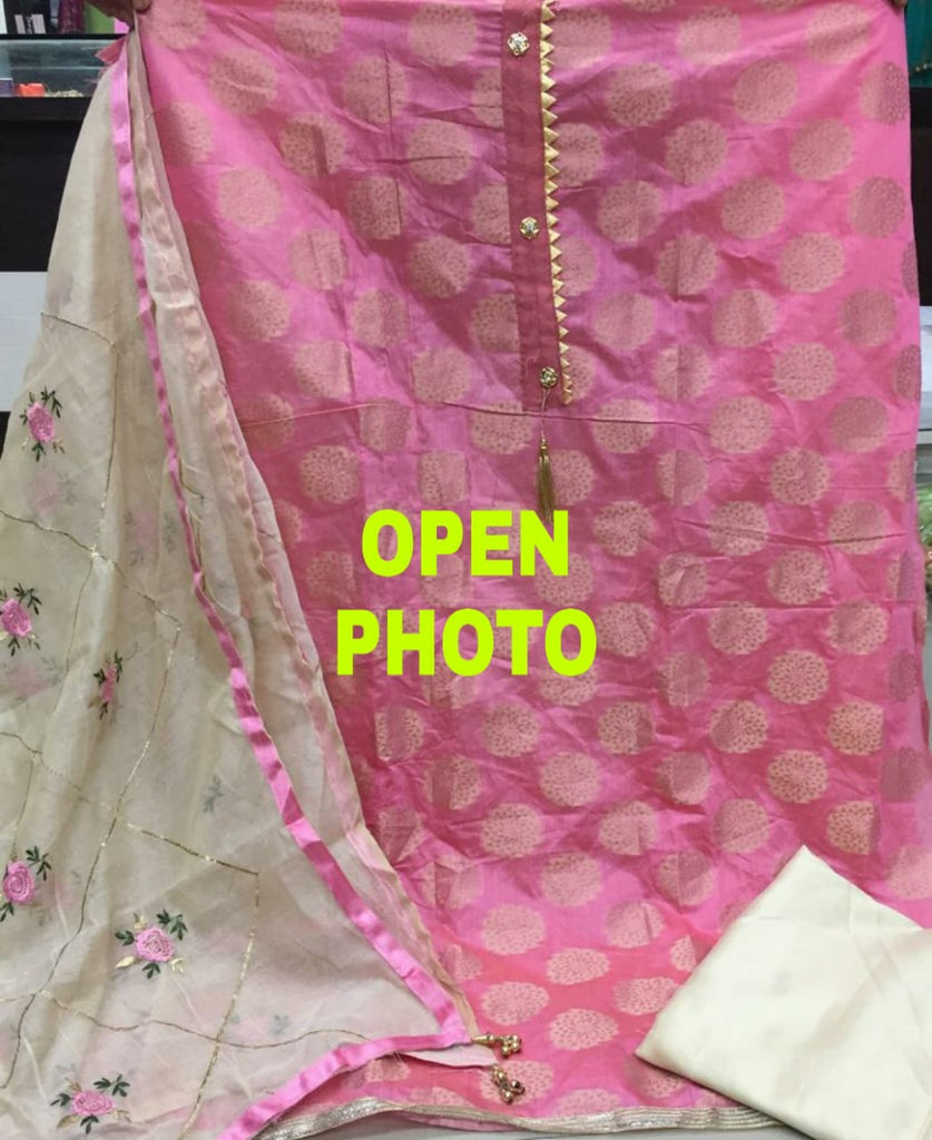 Banarasi dress material with embroidery dupatta