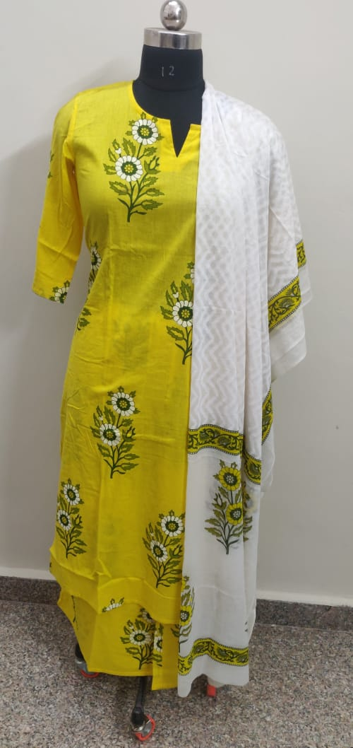 Yellow block print kurti plazo dupatta