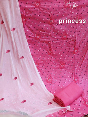Pink cotton embroidery dressmaterial