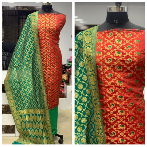 Red greeni Banarasi Dressmaterial
