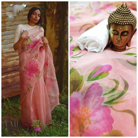 Peach flower printed organza saree