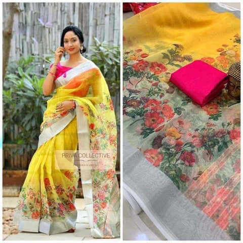 Yellow flower organza printed saree