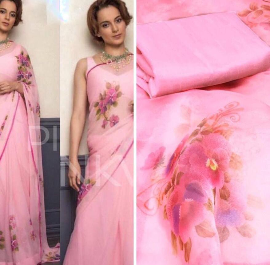 Organza printed flower saree