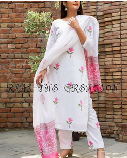White flower print suit set