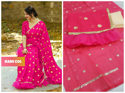 Georgette ruffle saree