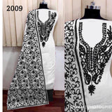 White black aari work dressmaterial