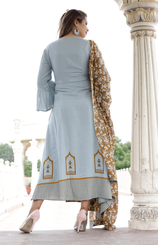 Long kurti gown dupatta set