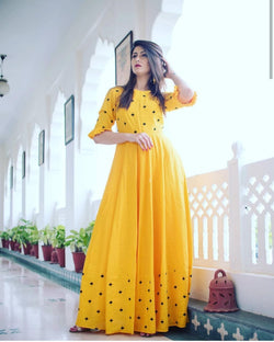 Yellow rayon gown