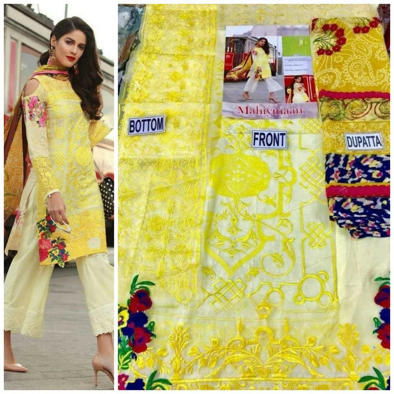 Yellow cotton dress material