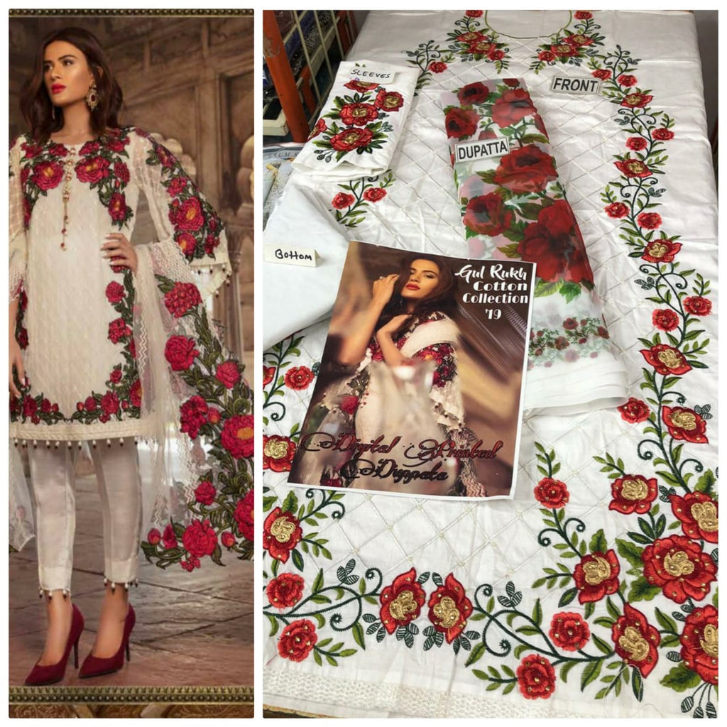 White flower embroidery dress material