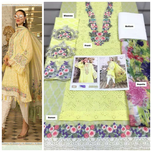 Yellow flower embroidery dress material